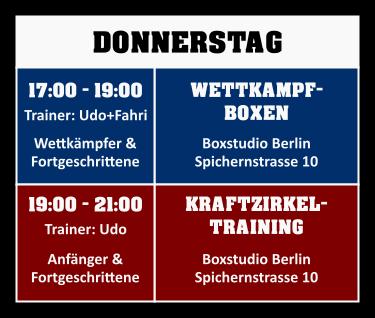 Trainingsplan Donnerstag