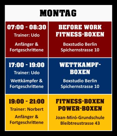 Trainingsplan Montag