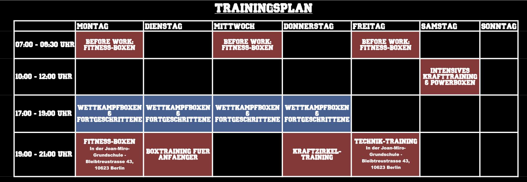 Trainingsplan Boxen